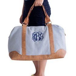 Personalized Navy Seersucker Weekender Bag- Font: Master Circle Initials, Thread Color: Navy
