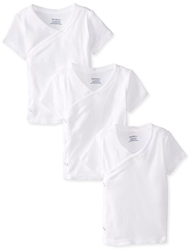 - Gerber Unisex-Baby Newborn 3 Pack Short Sleeve Side Snap Shirt, White, 0-3 Months