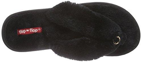 Femme flop 000 Chaussons Noir flip Schwarz Fur Original CHI4qw