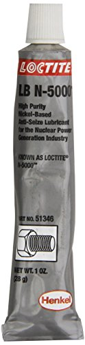 1 Lubricant Tube Oz - Loctite 51346 Silver LB N-5000 High-Purity Anti-Seize Lubricant, -20 Degree F Lower Temperature Rating to 2400 Degree F Upper Temperature Rating, 1 fl. oz. Tube