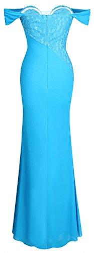 Spitze Damen Ballkleid fashions Schulter aus Teilt Lange Gerafft Himmelblau Friesen Angel der 4X7q564w
