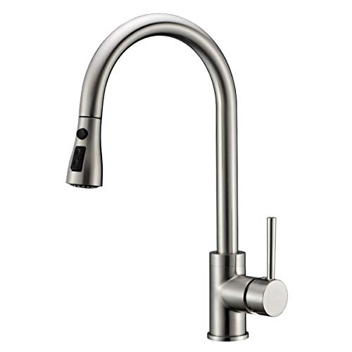 Kitchen Sink Faucet Brushed Nickel Delle Rosa Pause Function 3 Water Mode Pre-rinse Pull Out Solid Brass Single Handle Kitchen Faucet