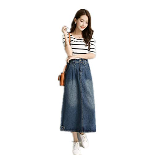 (Women's Long A Line High Waist Button Denim Skirts Midi Jeans Dress Dark Blue)
