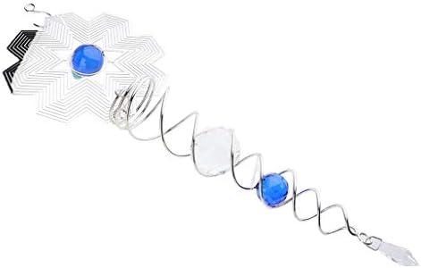 3Dウィンドスピナー 風鈴 風のチャイム クリスタルボール ブルー雪花柄