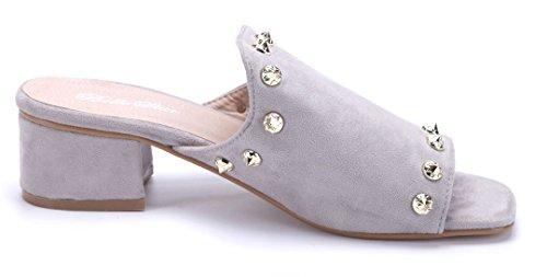 Schuhtempel24 Damen Schuhe Pantoletten Sandalen Sandaletten Blockabsatz Nieten 5 cm Grau