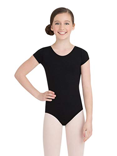 Capezio Big Girls' Team Basic Short Sleeve Leotard,Black,L (12-14) -
