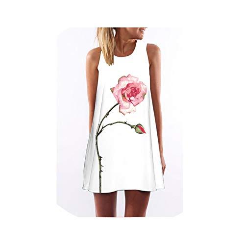 shushiye Sleeveless Boho Dress Women Floral Print Mini Summer Dress A Line Casual Chiffon Dresses Mujer,Color12,L