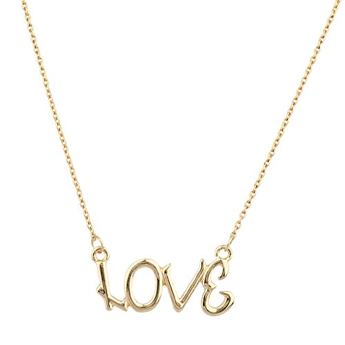 [Lux Accessories Goldtone Love Verbiage Necklace] (Necklace Love Beads)
