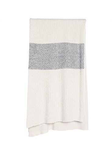 Barefoot Dreams BCL Ribbed Throw with Heathered Stripe Stone-Heathered Stone /Graphite by Barefoot Dreams [並行輸入品] B01AJ41TKQ