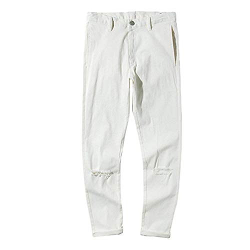 Stretch Bianca Fit Strappati Estilo Jeans Uomo Casual Slim Da Pantaloni Skinny Especial xPXwqTEC