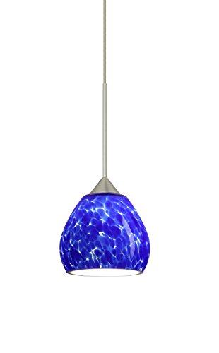 Besa Lighting 1XT-560586-LED Tay Tay 1 Light LED Cord-Hung Mini Pendant with Blu, Satin Nickel ()