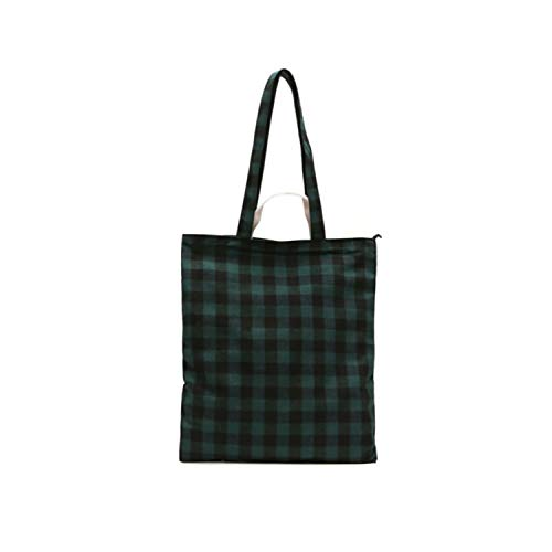 Canvas Shoulder Bag Plaid Hand Bags Daily Use Foldable Large Capacity Travel Shopper Bag Totes,Green