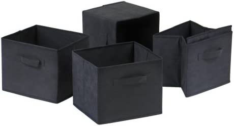 Amazon Com Winsome Capri Foldable Fabric Baskets Set Of 4 Black Home Kitchen