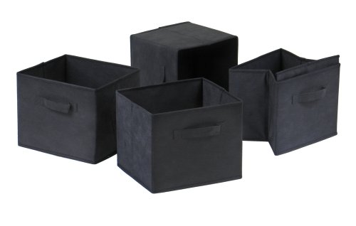 Winsome Capri Foldable Fabric Baskets, Set of 4, Black - bedroomdesign.us