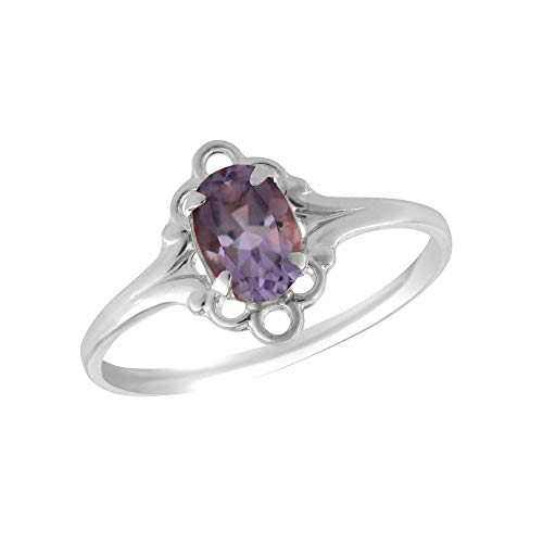 (Sterling Silver Oval Shape Simulated February Birthstone Ring For Girls (size 4))