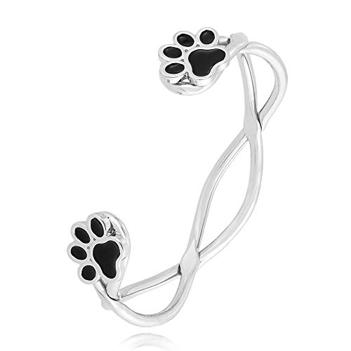 Twist Wire Bracelet - MANZHEN Double Cuff Dog Paw Print Open Bangle Twist Wire Bangle Bracelet (Silver)