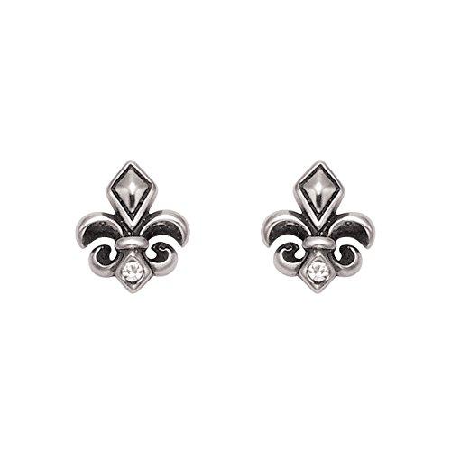 Stainless Steel Fleur De Lis Stud Earrings w/Faceted Crystal Stones