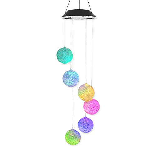 Solar Light Outdoor Decorative Wind Mobile AceList Solar Power Decoration Spiral Spinner Changing Color Outdoor Garden Decor Gift