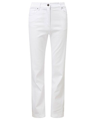 "Cotton Traders Womens Magic Comfort Slim Boot Cut Jeans 27"" White"