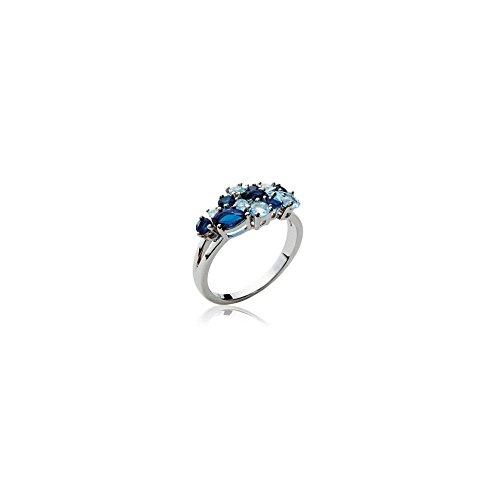 Bague en Argent 925/000 Rhodie et Grappe de Cristaux Bleu - 9 mm