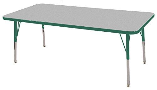 ECR4Kids 24'' x 60'' Rectangular Activity Table, Gray Top/Green Edge, Toddler Legs/Swivel Glides, Six 10'' Green School Stack Chairs by ECR4Kids