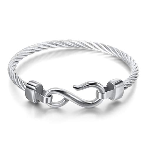 Titanium Stainless Steel Vintage Signature Twisted Cable Bracelet Bangle (Silver Infinity ()