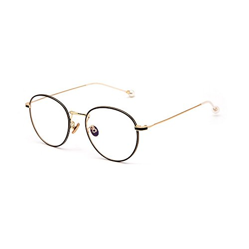 MINCL/Clear Lens Eyeglasses Metal Frame Retro Vintage Fashion Glasses With Pearl (black-gold) - Costume Contact Lenses With Prescription