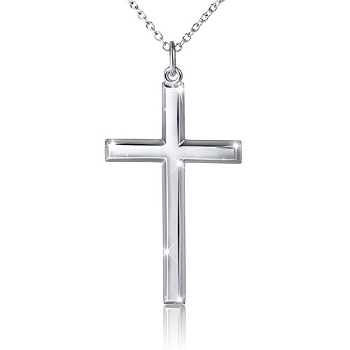 Men's S925 Sterling Silver Classic Cross Pendant Necklace 24