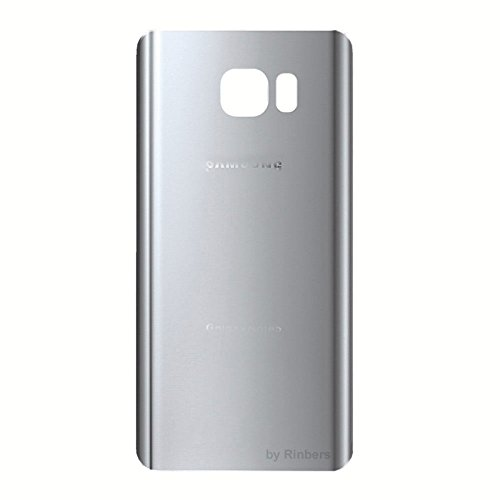 Rinbers SILVER Back Glass Battery Door Rear Cover Housing Replacement with Adhesive for Samsung Galaxy Note 5 V N920A N920T N920P N920V N920R4 N920W8 N920F (Oem Silver Housing)