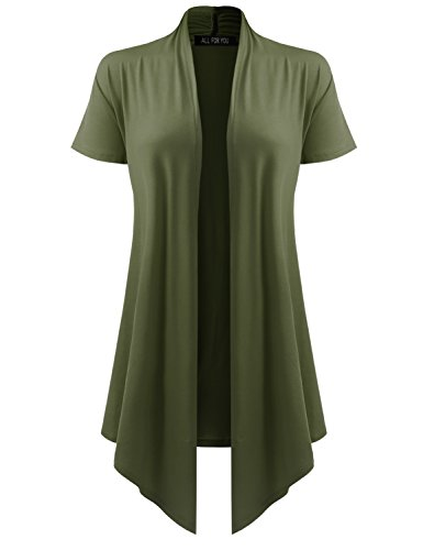All You Women's Soft Drape Cardigan Short Sleeve Olive Small