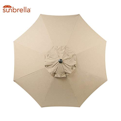 Sunbrella Fabric Replacement Umbrella Canopy Only for 9ft 8 Ribs Outdoor Patio Umbrella Vented Canopy Sunbrella Sand (Sunbrella Canopy Only, Sand)