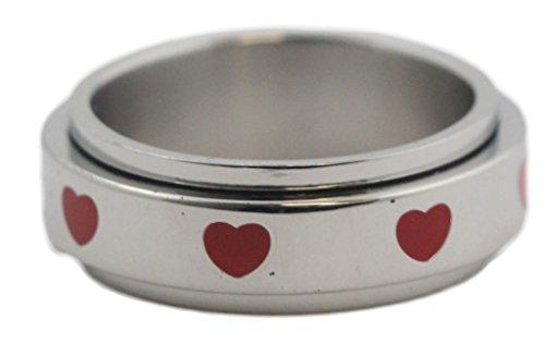 Red Heart Spinner Ring Stainless Steel Spinner Ring for Lovers Wedding Band