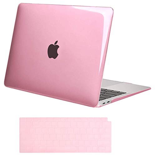 (MOSISO MacBook Air 13 Inch Case 2018 Release A1932 with Retina Display, Plastic Hard Case Shell & Keyboard Skin Cover Only Compatible Newest MacBook Air 13 with Touch ID, Crystal Pink)