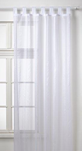 Gardine Vorhang Schlaufenschal transparent aus weichfliesendem Voile mit Effektstreifen in weiß HxB 245x130 cm leichte Anbringung an allen Gardinenstangen TOP Qualität ...auspacken, aufhängen, fertig! Typ119