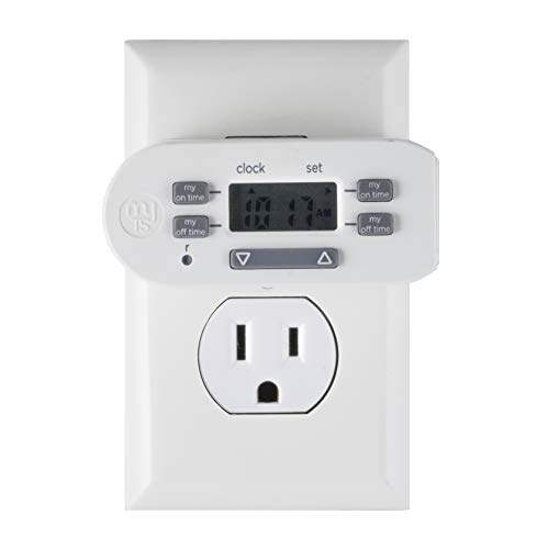 myTouchSmart Indoor Digital Plug-in Timer, 1 Outlet Polarized, 4 Programmable On/Off Buttons, Space Saving Bar Design, for Lamps, Seasonal Lighting, and Other Small Appliances, 36253, Pack, WHITE