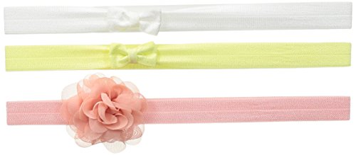 Carter's Baby Girls' Infant Headwrap (3 Pack), White/Pink/Yellow, 0-6