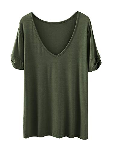 - SheIn Women's Summer Short Sleeve Loose Casual Tee T-Shirt ArmyGreen X-Large