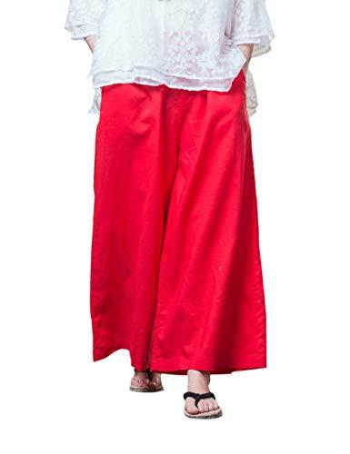 Harem Besbomig Yoga Cotone Larga Hippie All'aperto Rosso Boho Gamba Casuale Pantaloni Biancheria Lungo xwgSUqrtCw