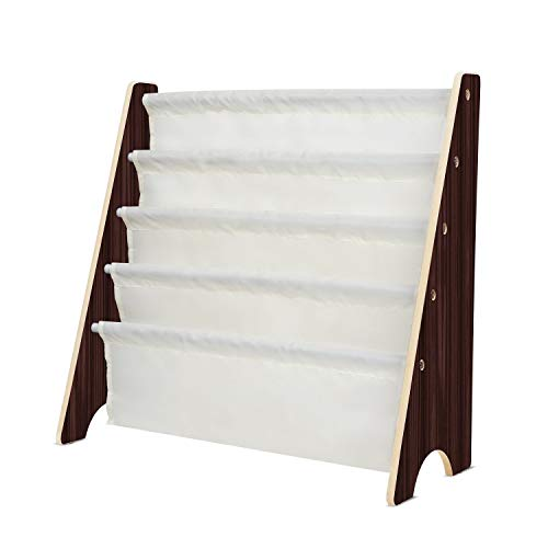 HOMFA Kids Book Rack Storage Sling Bookshelf Toy Display for Children, Espresso / White -