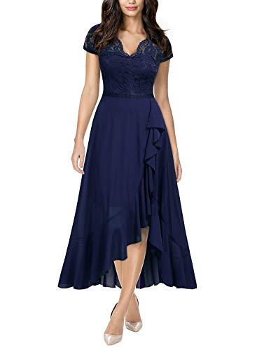 Miusol Women's Formal Floral Lace Ruffle Cocktail Party Dress,Large,B-Navy Blue