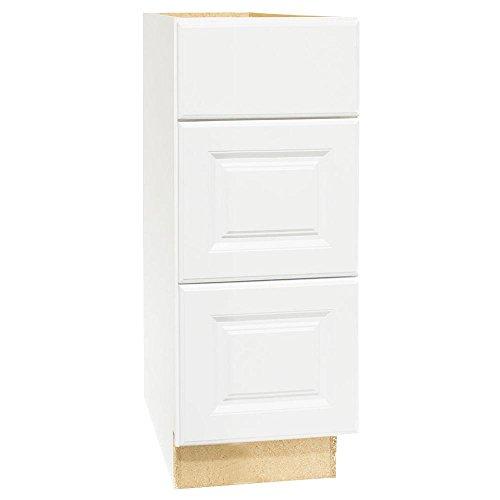 Hampton Bay Hampton Assembled 12x34.5x21 in. Bath Vanity Drawer Base Cabinet with Ball-Bearing Drawer Glides in Satin Wh ()