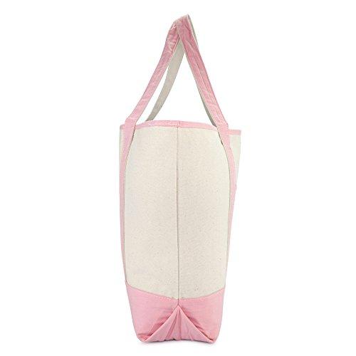 DALIX Women's Cotton Canvas Tote Bag Large Shoulder Bags Pink Monogram G by DALIX (Image #5)