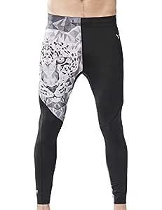 HUGE SPORTS Men's Compression Athletic Running Pants Baselayer Cool Dry Sports Tights Workout Leggings (Jaguar,S)