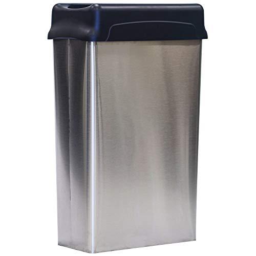 Witt Industries Rectangular Modern Waste Basket Wastebasket, 22 Gallon, Stainless Steel Finish