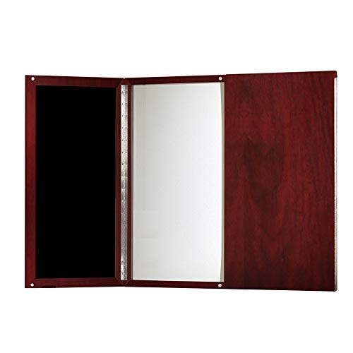 Mayline MNPBLMH Medina Presentation Board with Dry Erase Center Panel, Mahogany Laminate 2 Door Presentation Board