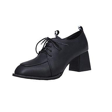 RTRY La Mujer Tacones Zapatos Formales Caída Pu Vestimenta Informal Lace-Up Chunky Talón Negro Beige Marrón 2A-2 3/4 Pulg. US5 / EU35 / UK3 / CN34