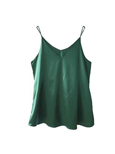 Wantschun Womens Silk Satin Camisole Cami Plain Strappy Vest Top T-Shirt Blouse Tank Shirt V-Neck Spaghetti Strap US Size XL;Green ()