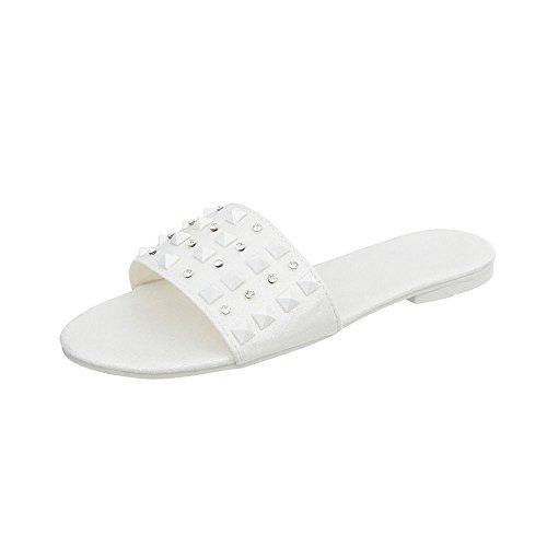 Ital-Design Pantoletten Damenschuhe Blockabsatz Sandalen & Sandaletten Weiß 6309