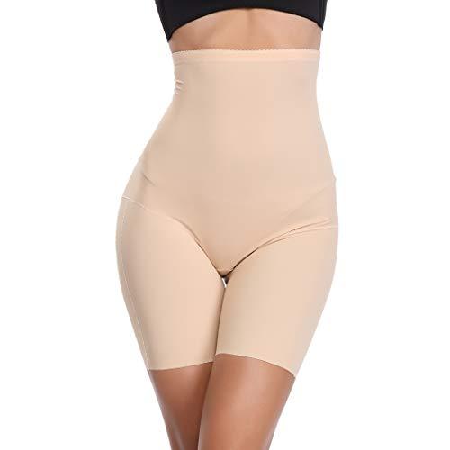 Tummy Control Shapewear Shorts Women High Waist Body Shaper Thigh Slimmer Slip Short Panty (Beige-Light Control, L)