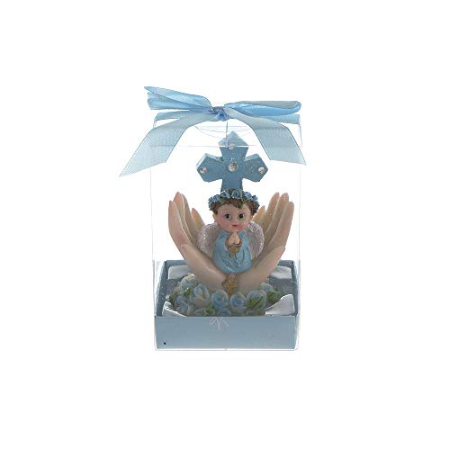 (Mega Favors Keepsake Figurine 12 pcs Baby Boy Blue Angel Kneeling Praying On Palm with Cross | Awesome Decorations or Party Favors | for Baptism, First Communion, Religious and Special Celebrations)